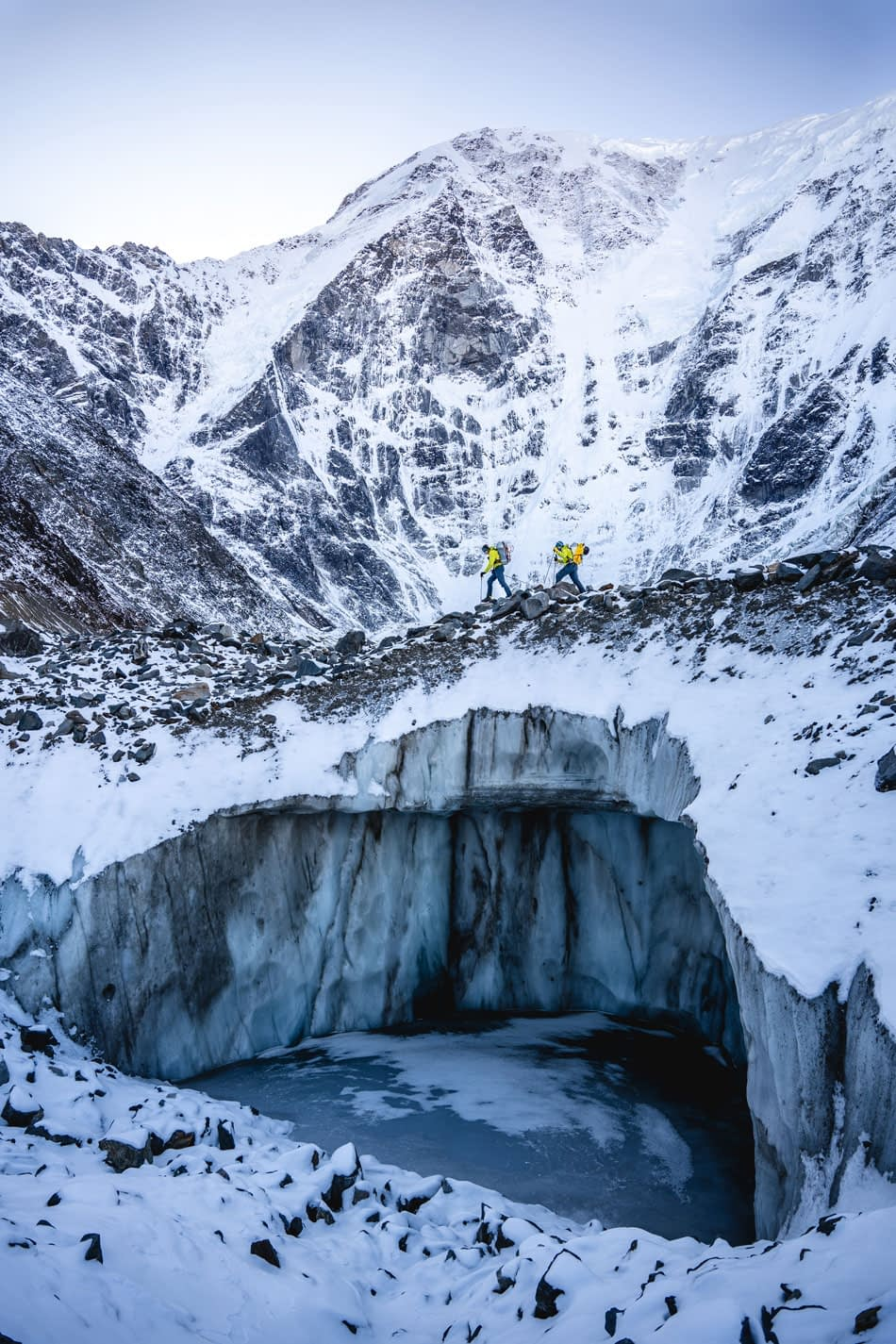 Beautiful photo of icy mountain with Benny Lieber and group using XEROS ropes